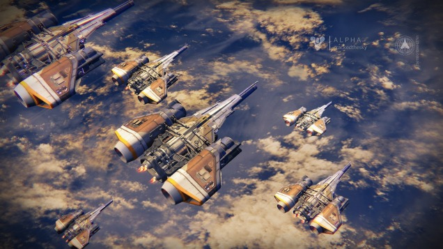 The Crucible loading screen. Each ship represents a different player on the same team, and while they all appear the same in this screenshot, your ship is customizable and will appear so on such screens.